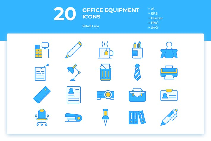 Thumbnail for 20 Office Equipment Icons (Line)
