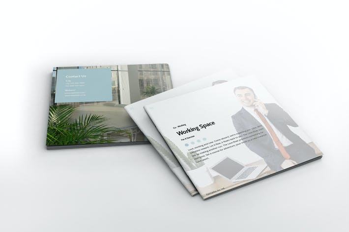 Thumbnail for Working Space Square Brochure Template