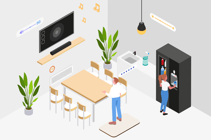 Ilustración isométrica Inteligente del lugar de trabajo