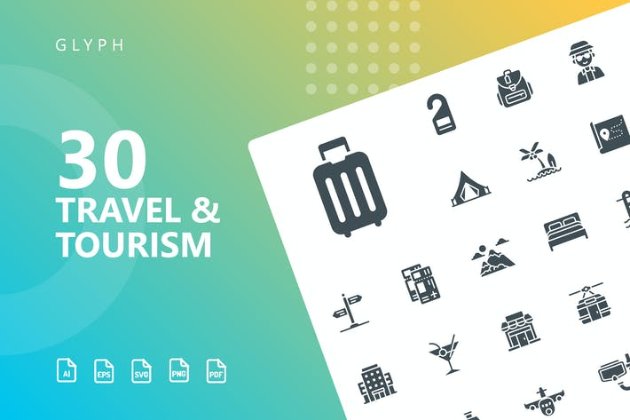 Thumbnail for Travel & Tourism Glyph Icons