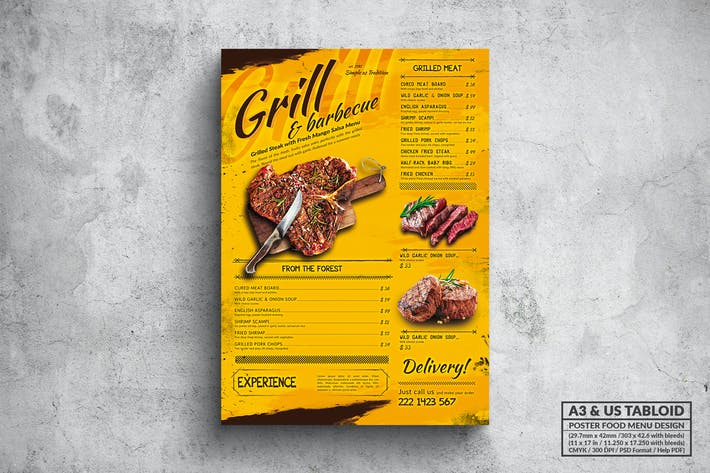 Thumbnail for Grill & BBQ Poster Food Menu - A3 & US Tabloid