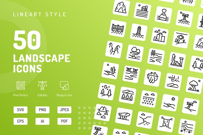 Landscape Line Icons