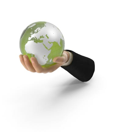Suit Hand Holding a Green Earth
