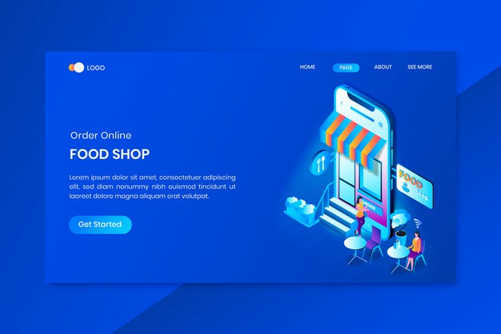 Thumbnail for Food Shop Online  Isometric Concept Landing Page