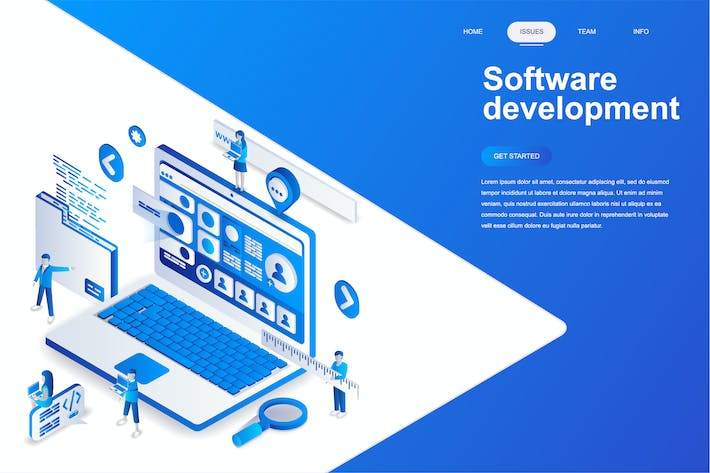 Cover Image For Software Development Isometric Concept