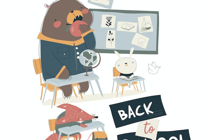 Thumbnail for Cartoon funny animals sitting in a classroom. Vect
