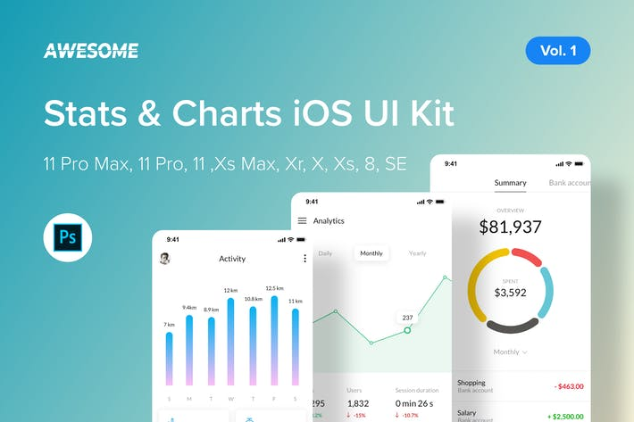 Thumbnail for Awesome iOS UI Kit - Stats & Charts Vol. 1 (PSD)