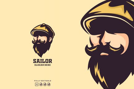 Sailor Captain Mascot Logo