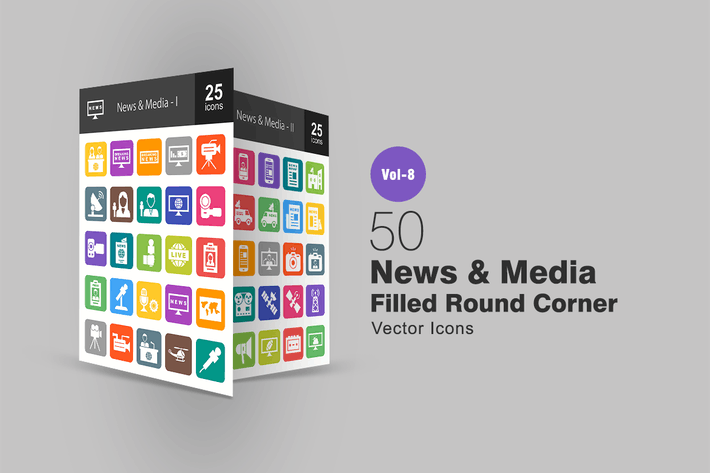 Thumbnail for 50 News & Media Filled Round Corner Icons