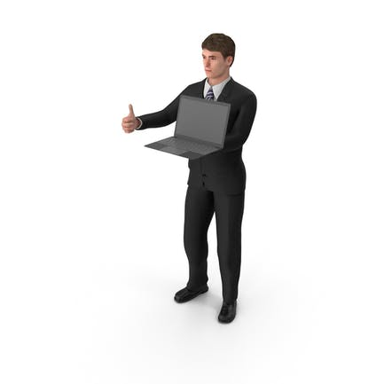 Hombre de negocios John Holding Laptop