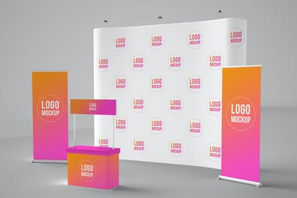 Banners, Backdrop, and Kiosk Mockup