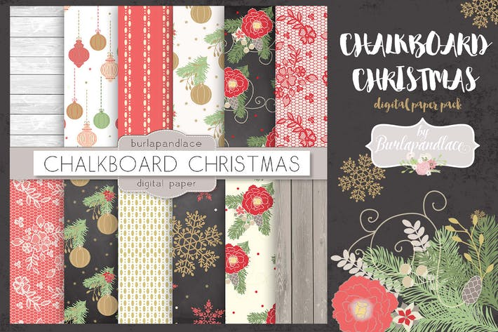 Thumbnail for Chalkboard Christmas digital paper pack