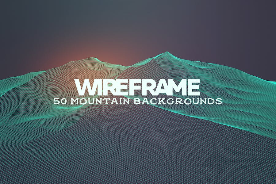 50 Mountain Wireframe Backgrounds
