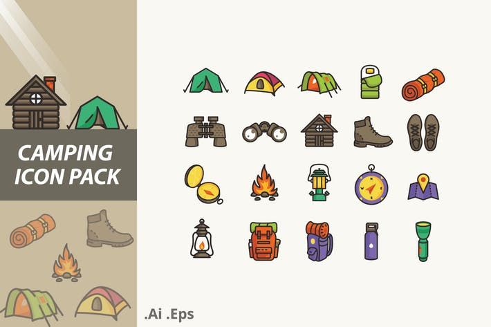 Thumbnail for Camping Icons Pack
