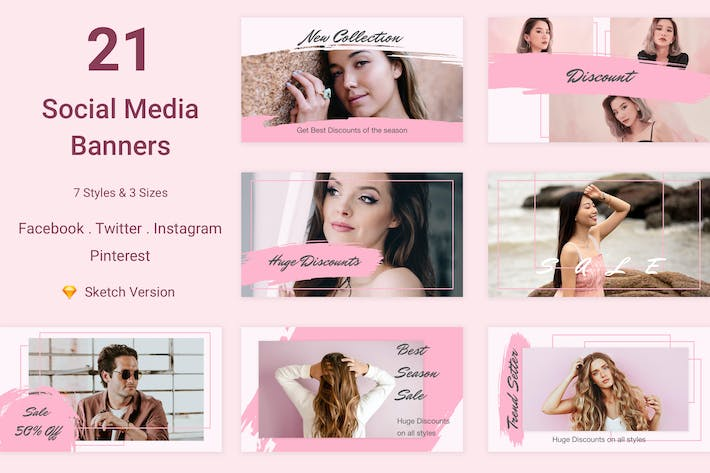 Thumbnail for 21 Social Media Banners Kit (Vol. 6) for Sketch