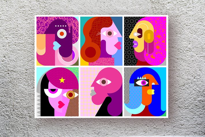 Thumbnail for Six Faces layered vector pop art illustration