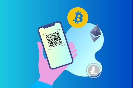 Blockchain QR Scan 2D Illustration