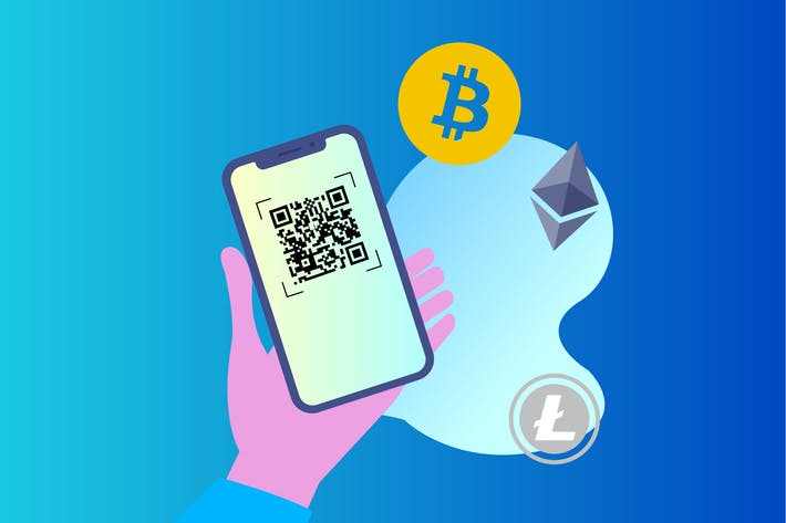 Thumbnail for Blockchain QR Scan 2D Illustration