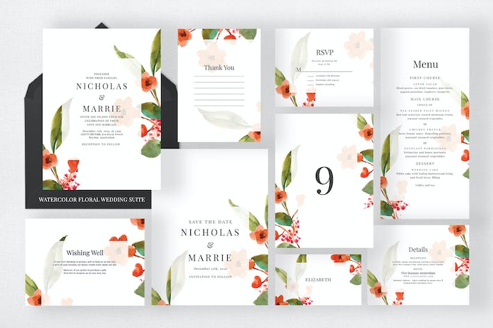 Thumbnail for Watercolor Floral Wedding Suite