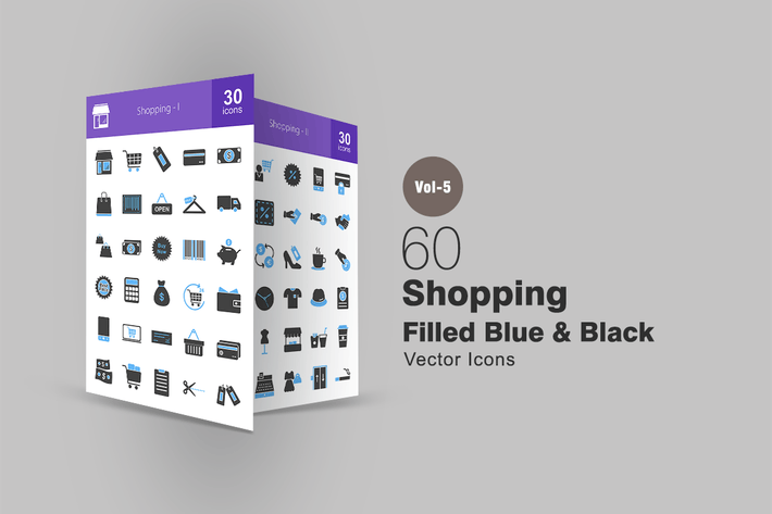Thumbnail for 60 Shopping Blue & Black Icons