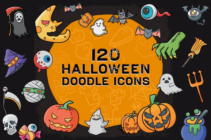 Cover Image For 120 Halloween Doodle Icon Set