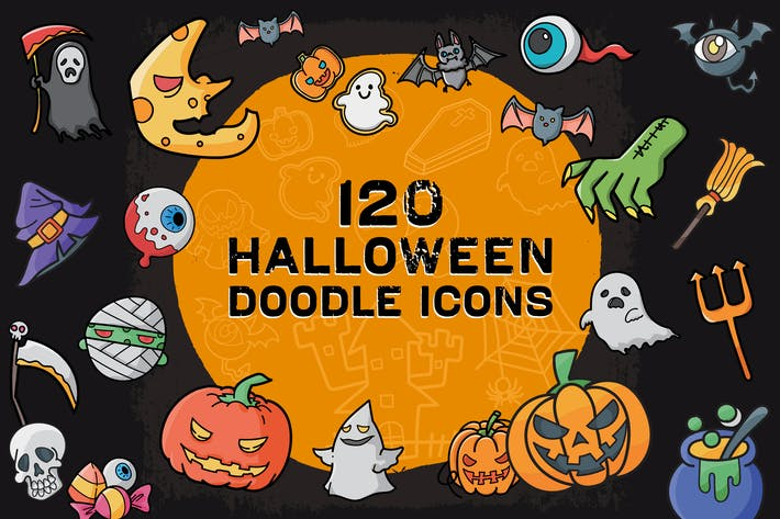 Lot de 120 icônes griffoins d'Halloween