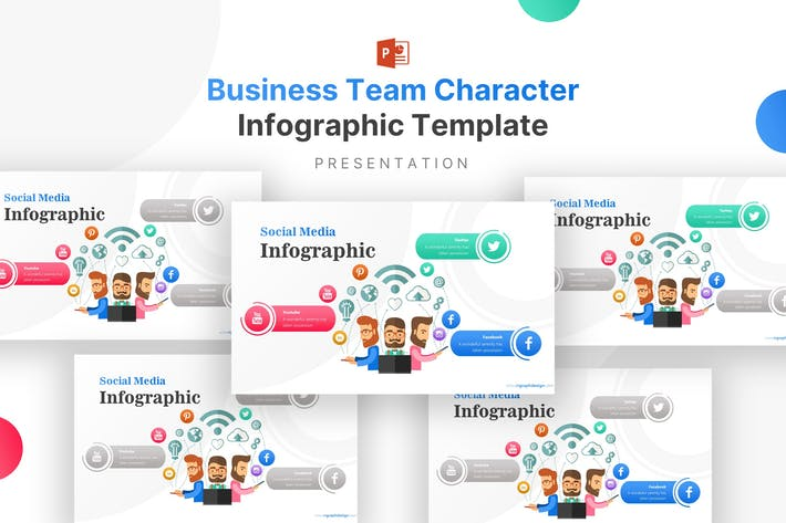 Business Team Character Infographic Template