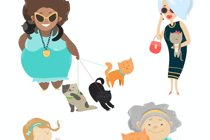 Thumbnail for Funny cats with their owners. Vector