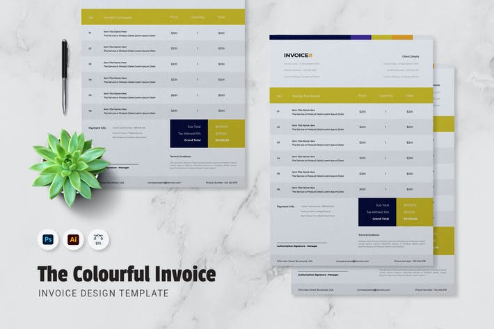 Thumbnail for Colourful Invoice