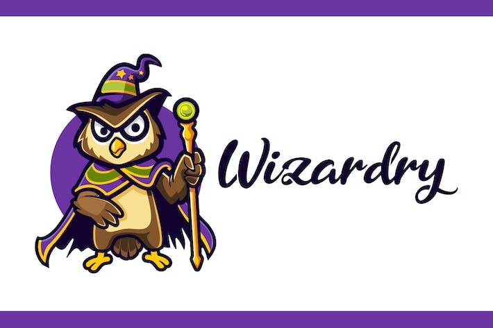 Thumbnail for Cartoon Wizard Owl Mascot Logo