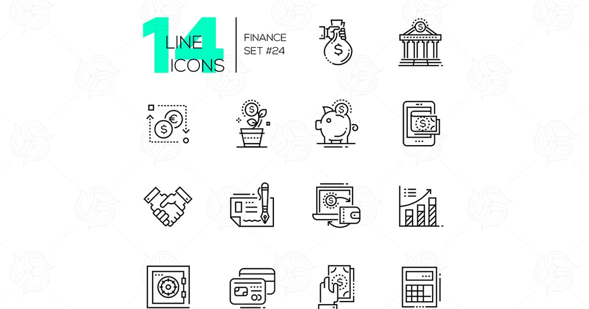 Finance - modern single line icons set by BoykoPictures