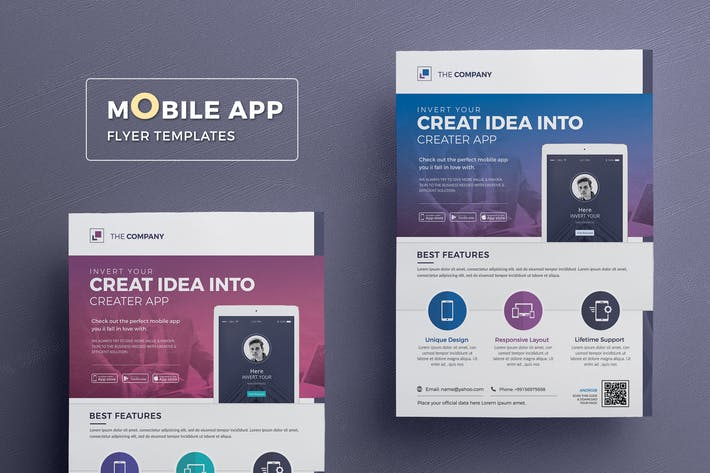 Thumbnail for Mobile App Flyer Templates