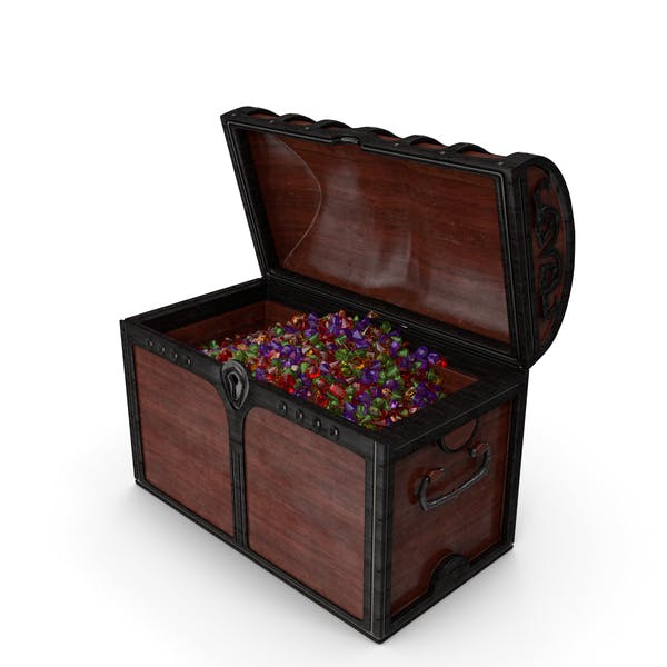 Wooden Chest With Small Mixed Gems