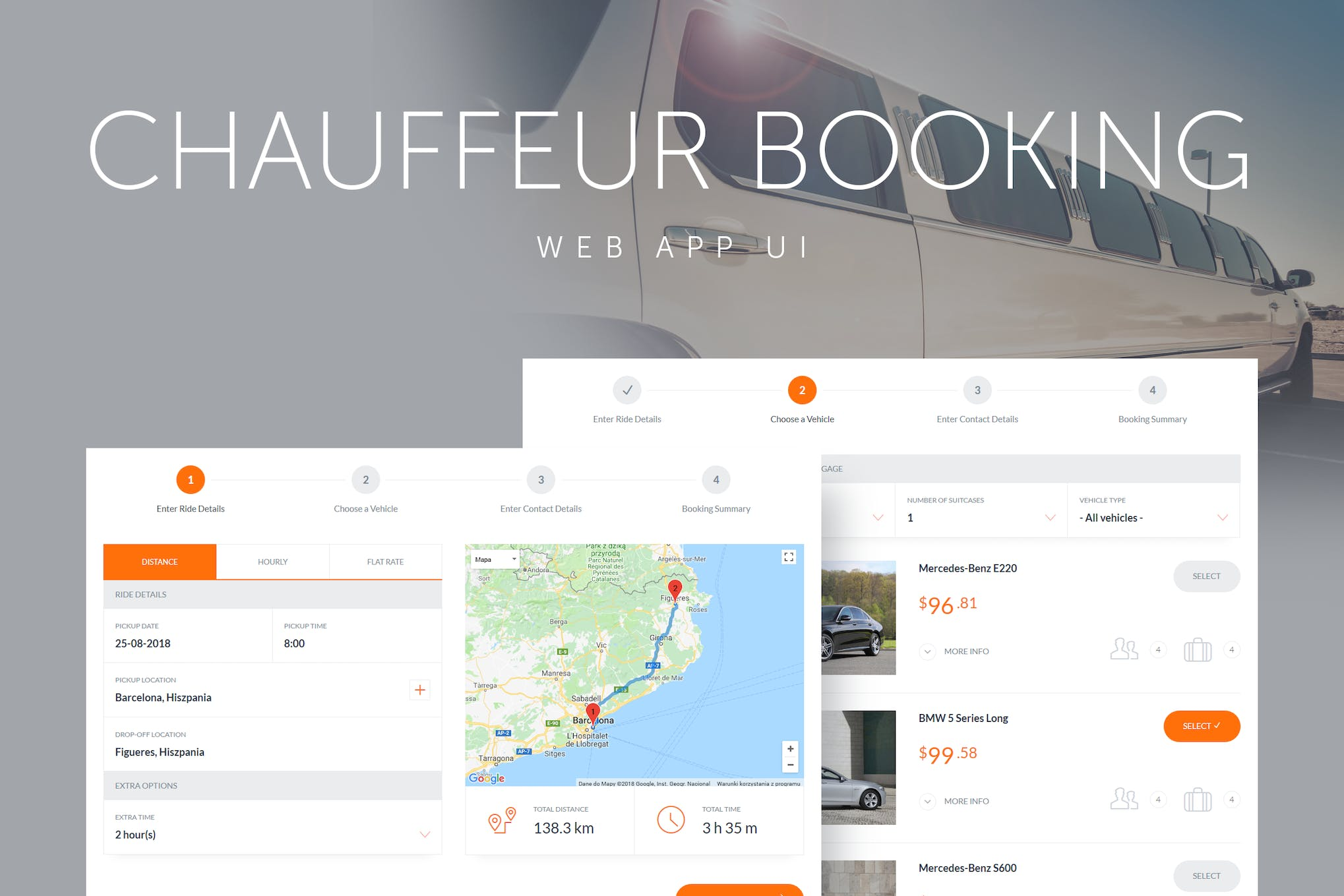 Chauffeur Booking System Web App UI by QuanticaLabs on Envato Elements