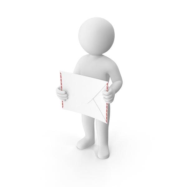 Stickman Holding Letter