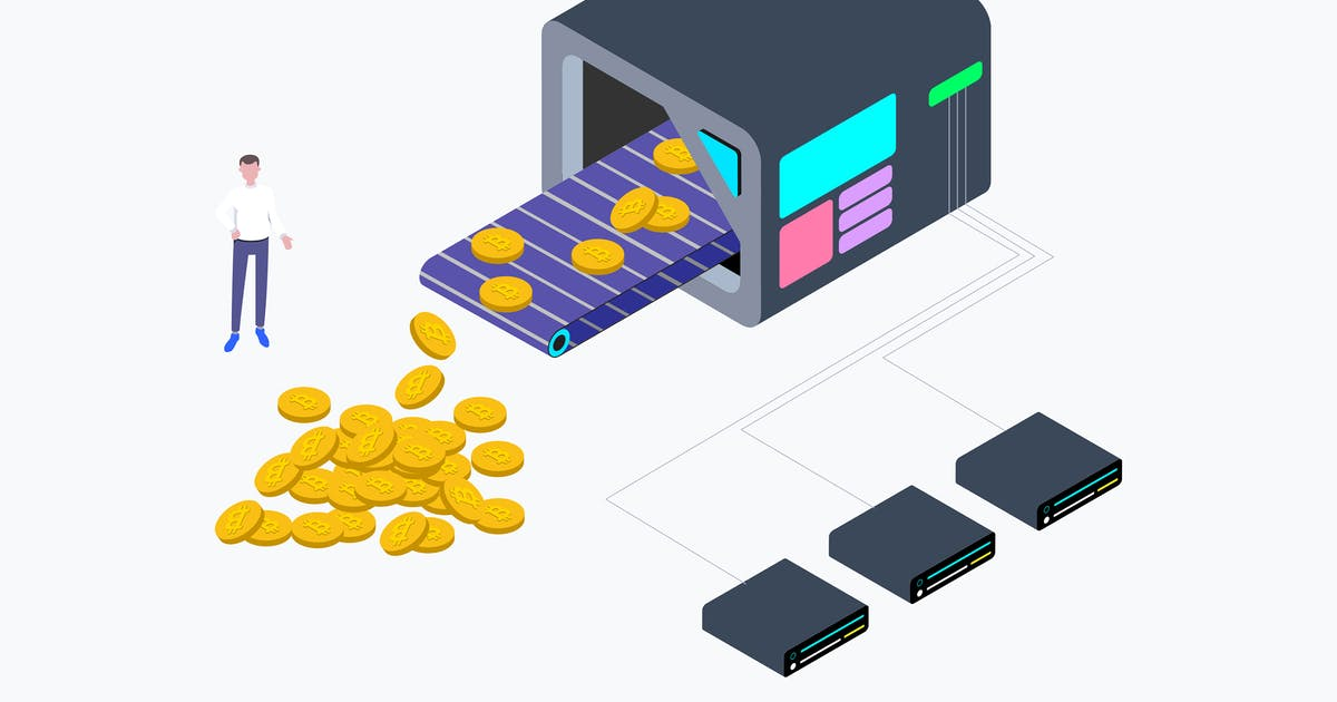 Download Cryptocurrency Mining Factory Isometric by angelbi88