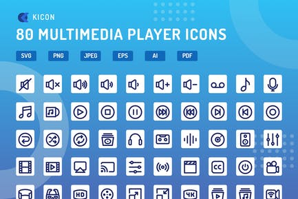 Kicon - Multimedia Player Icons
