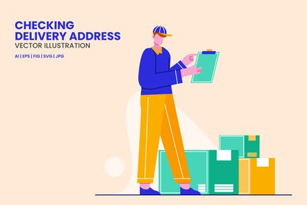 Deliveryman Checking Delivery Address Illustration