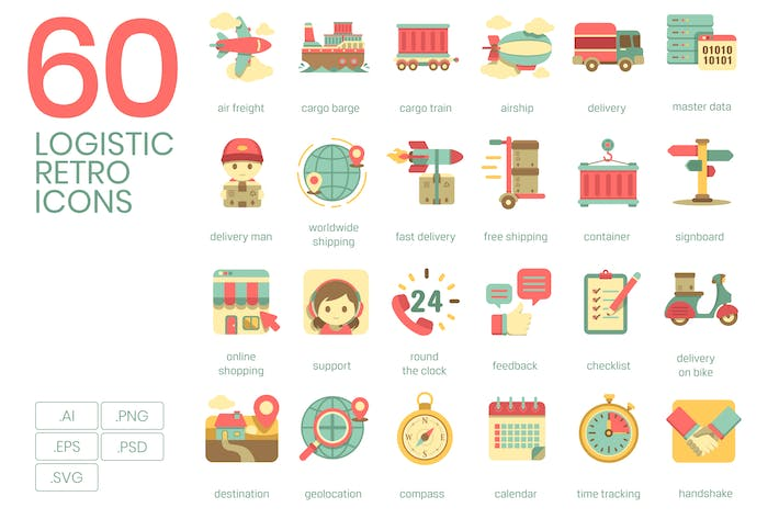 Cover Image For 60 Logistics Icons | Retro