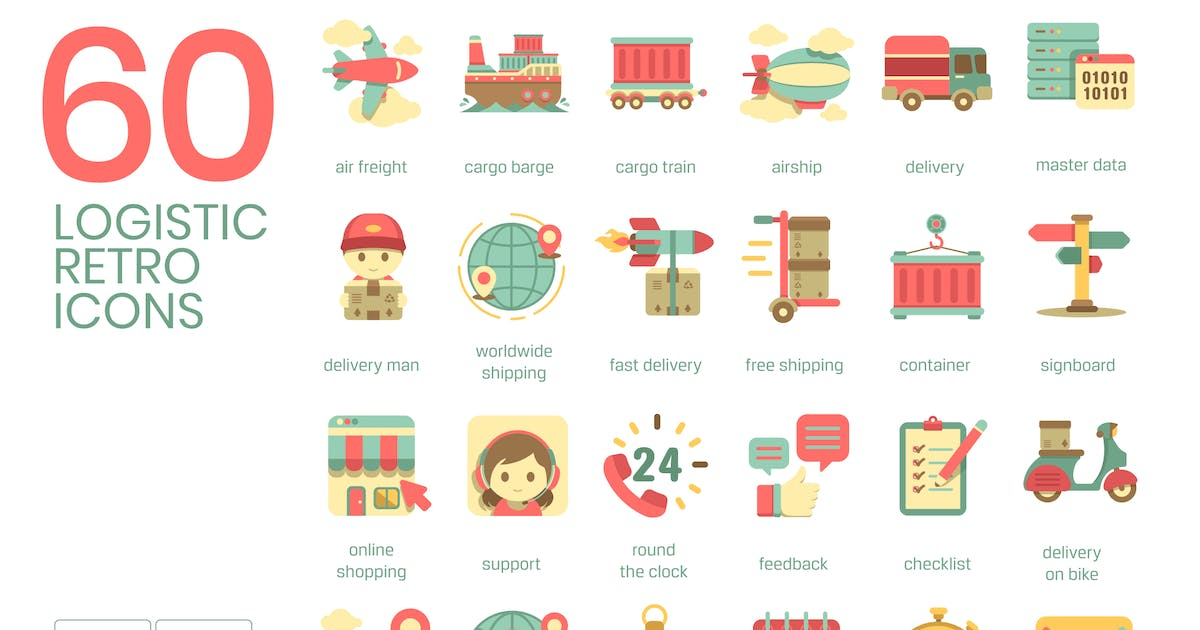 Download 60 Logistics Icons | Retro by Krafted