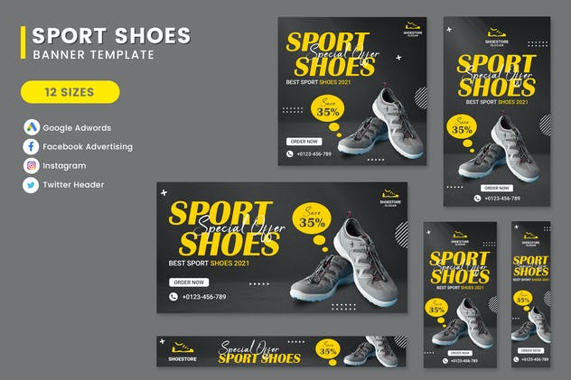 Sport Shoes Banner Set Template
