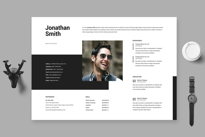 Cover Image For Clean Minimal Resume / Cv Template 28