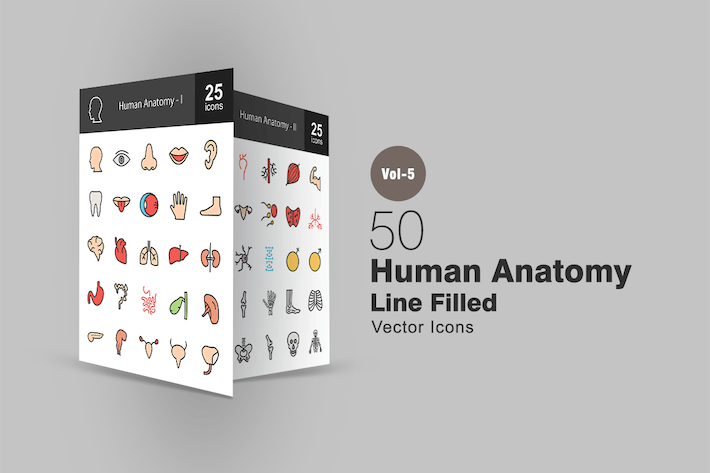 Thumbnail for 50 Human Anatomy Line Filled Icons