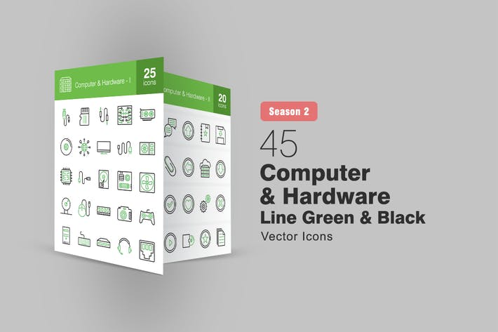 Thumbnail for 45 Computer & Hardware Line Green & Black Icons