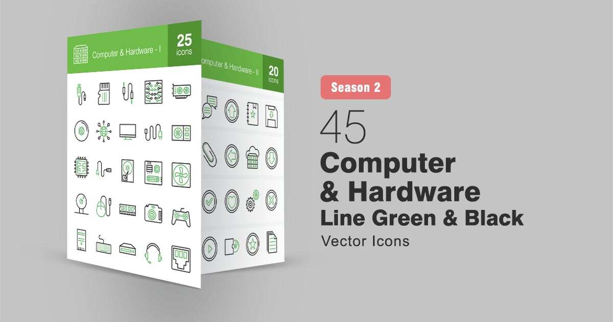 Download 45 Computer & Hardware Line Green & Black Icons by IconBunny