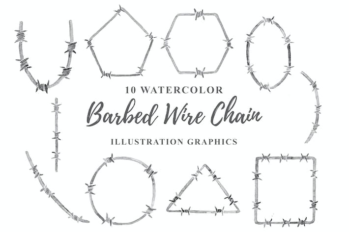Thumbnail for 10 Watercolor Barbed Wire Chain Illustration
