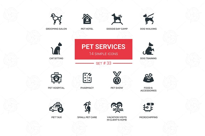 Thumbnail for Pet Services - set of simple icons
