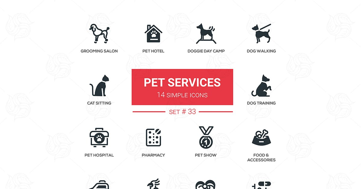 Download Pet Services - set of simple icons by BoykoPictures