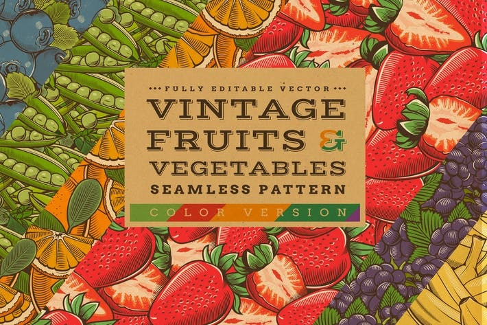 Thumbnail for Fruits & Vegetables Vintage Seamless Patterns