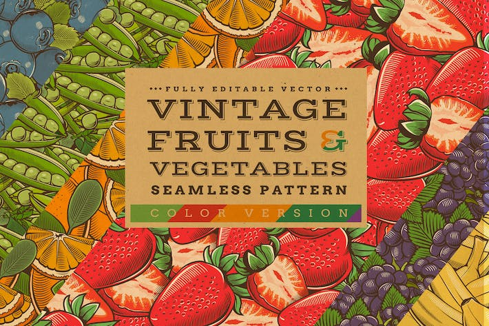 Cover Image For Fruits & Vegetables Vintage Seamless Patterns